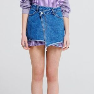 Storets Joanne Wrap Denim Skirt Asymmetrical Mini